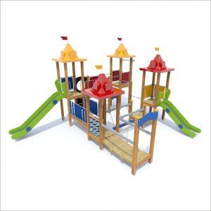 prosympatyk-place-zabaw-drewniane-zestawy-zabawowe-twierdza-dwa-slizgi-1